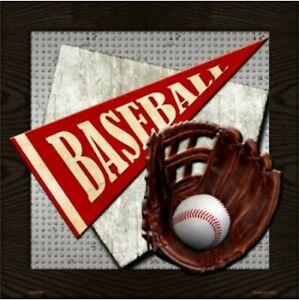"Baseball Novelty Metal Sign 12"" x 12"" Wall Decor - DS"