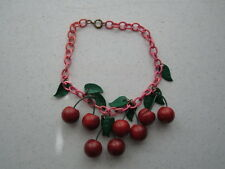 Vintage Rare Bakelite Cherries Necklace and Leaves on Celluloid Chain