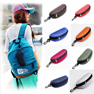 Clam Shell Eyeglasses Eyewear Case Protector Sunglasses Case Zipper With Hook Up