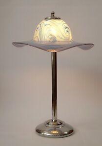 Sammlerstück Design Tischleuchte Chrom Art Deco mundgeblasen Unikat Lampe