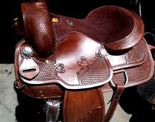 new western tack trail pleasure roping leather western saddle with matching tack