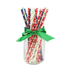 25pcs Christmas Paper Straws Disposable Eco-friendly Snowflake Dots Xmas Supply