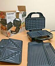 Salter XL EK2143 900W Deep Fill 3-in-1 Sandwich and Waffle Maker - Silver/Black