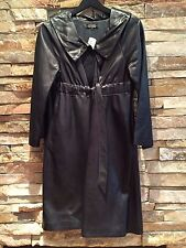 ROZAE NICHOLS BLACK LEATHER BELTED SWING COAT SIZE MEDIUM NEW W TAGS MADE IN USA