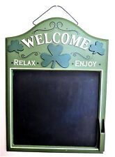 Welcome Chalkboard Sign with Shamrocks, Relax, Enjoy Green/Black