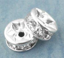 30 Perles intercalaires Rondelle Strass Argenté 6mm Dia.