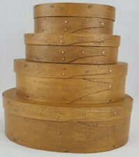 4 Stack Oval Shaker Boxes Handcrafted by DON KARRAGH Springfield, TN-Signed