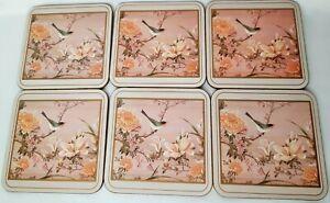 Set Of 6 Pink Vintage Pimpernel Bird Coasters