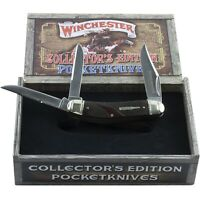 Winchester Brown Checkered Bone Collectors Edition Sowbelly Pocket Knife 39049C