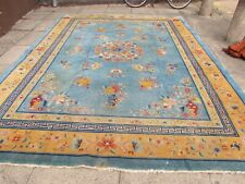 Antique Shabby Chic Worn Hand Made Art Deco Chinese Blue Wool Carpet 358x273cm