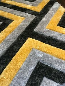 Rugs Approx 6x4Ft 120x160CM Triangles 3D Rugs Top Quality Mustard-Grey-Silver