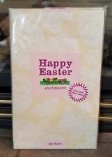 """New Easter Spring Vinyl Tablecloth Flannel Back Thick Heavy Yellow Eggs 52 x 52"""""""