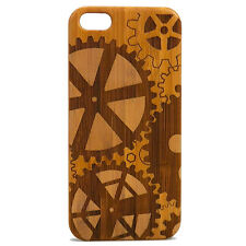 Steampunk Case for iPhone 7 Plus Bamboo Wood Cover Gears Cogs Mechanical Engine