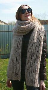 Premium Mohair Super Long Scarf 300 cm Hand knitting Beige Jane Rodas
