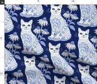 Cats Catsdc Feline Kitten Feline Frenzy Blue And Spoonflower Fabric by the Yard
