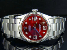 Mens Rolex Datejust 18K S.Steel Fluted Bezel 36MM Oyster Red Dial Diamond Watch