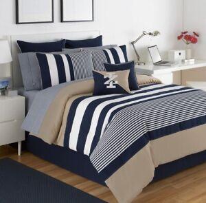 IZOD, Classic Stripe Comforter Set - Pillow Sham + Bedskirt  (Choose Size)