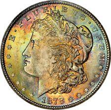 1878-CC $1 MORGAN SILVER DOLLAR ✪ NGC MS-63 ✪ RAINBOW TONED TONING 006 ◢TRUSTED◣