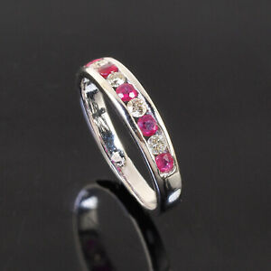 Natural Ruby Diamond Ring AAA Exquisite Design 925 Sterling Silver [US 7.15]