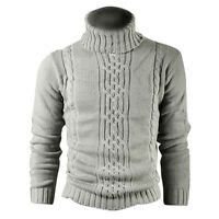 Kitz Druck Wolle Baumwolle Herren Pullover Mantel Wolljacke Hellgrau L O3I2