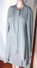 JV by Jacques Vert 2-Piece Women's Skirt Suit Size 12 Light Gray/Sage Color