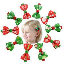 Cute Christmas Elk Tree Snowman Hair Clips Hairpin Hair Bows Kids Girl Xmas Gift