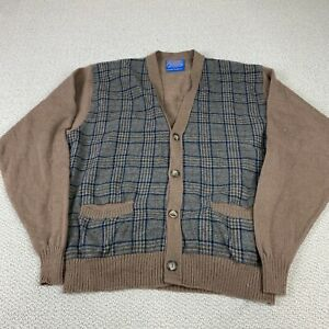 VTG 90s Pendleton Country Traditionals Cardigan Sweater Wool Brown USA Medium XL