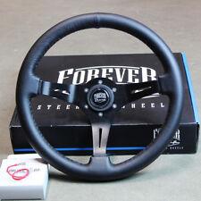 350mm Black Leather Deep Dish Steering Wheel - Toyota, JDM, Honda, Universal Fit