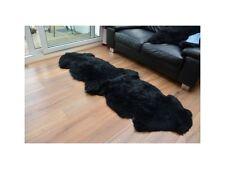 Black double sheepskin rug carpet natural soft wool fur