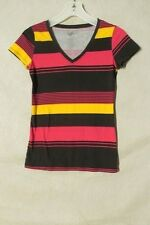S5136 OP Juniors (S- 3/5) Black/Pink/Yellow Striped V-Neck Short Sleeve Knit Top