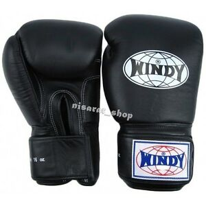 WINDY BOXING GLOVES BLACK BGVH 8,10,12,14,16,18,20 oz.SPARRING  MUAY THAI MMA