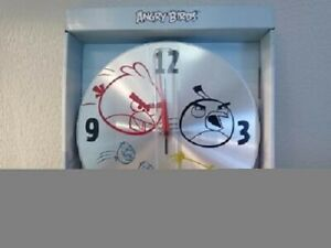ANGRY BIRDS WALL CLOCK, 10 in. X 10 in. Brushed Aluminum, NEW