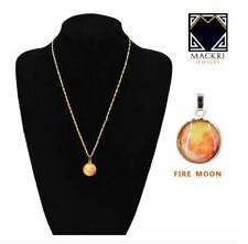 MACKRI Moon Gold Stainless Necklace Glow in the Dark FIRE MOON