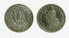pcc2099_1)  Svizzera Switzerland 1 Franco Franc 1875 B Helvetia MB CLEANED