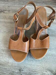 Franco Sarto  Wedges Size 8 Brown Tan  Leather Upper Cork Wedge Espadrille
