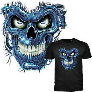 Tête de Mort Tatouage T-Shirt Gothique Heavy Metal Motard Rocker 4146 Noir