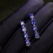 2ct Oval Cut Blue Sapphire Straight Drop Royal Earrings 14k White Gold Over