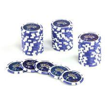 50 Poker-Chips Wert 10 blau Laserchip 12g Metallkern Jetons Coin für Pokerkoffer