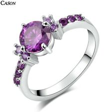 Fashion18K White Gold Ring Jewelry Gift Aaa Purple Cubic Zirconia Wedding Rings