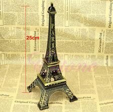 Vintage Alloy Model Decor Bronze Tone Paris Eiffel Tower Figurine Statue 25cm