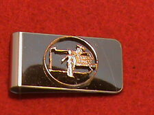 Hand cut US Pennsylvania quarter 24 kt gold plated and mounted as money clip