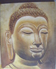 "BUDDHA HEAD ART OIL PAINTING 20x24"" STRETCHED"