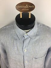 Banana Republic Mens Long Sleeve Dress Shirt Blue Stripe Linen Large