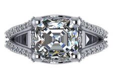 6.10 ct I VS1 asscher natural diamond engagement ring 18k white gold made in USA