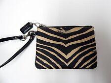 Coach Black Beige Zebra Canvas Black Leather Wristlet