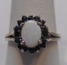 Vintage Estate~Genuine Opal & Sapphire 925 Sterling Silver Cocktail Ring Sz 8.75
