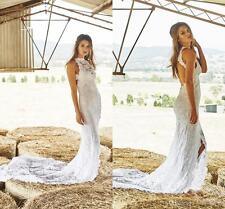 Boho White Ivory Lace Wedding Dresses Halter Beach Front Split Bridal Gowns