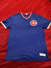 Chicago Cubs Mitchell And Ness Team Colors Overtime V Neck T Shirt Mens Size Med