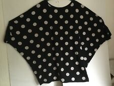 HEBBEDING BLACK SPOTTED JERSEY TUNIC SIZE L OWERIZED, BAGGY, LAGENLOOK