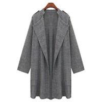 Women's Windbreaker Slim Fit Long Coat Jacket Lapel Spring Autumn Trench Coat US